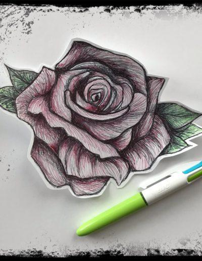 Tryptique floral au bic / Eve Wikanda